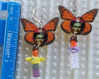 Frida on Monarch Butterfly with Worry doll dangle