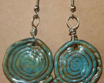 Hand coiled polymer clay swirl earrings