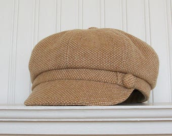 Wool Newsboy Hat, Tan and White, Womens Cap, Made To Order