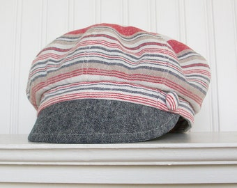 d124db4434d3 Womens Striped Linen Newsboy Hat, White, Taupe, Red and Blue linen Newsboy  Cap - MADE TO ORDER