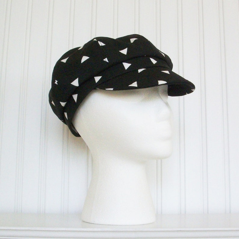 Black and White Newsboy Hat Womens Hat Made To Order Womens Newsboy Cap