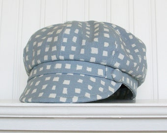 Blue and White Cotton Newsboy Hat, Summer Hat, Womens Hat, Made To Order
