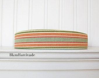 Ivory, Green and Orange Striped Headband, Fabric Headband, Womens Headband, Adult Headband, Womens Hair Accessories
