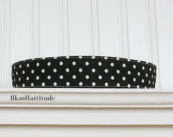 Black and White Polka Dot Fabric Headband Womens Hair Wrap