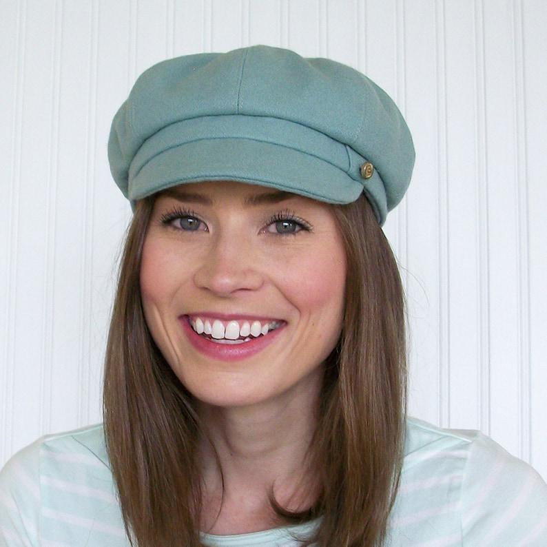 e1a127c5c81d7 Wool Newsboy Cap in Seafoam Green Womens Newsboy Hat Made To