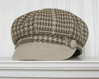 Linen Newsboy Hat, Taupe and Ivory Glen Plaid, Womens Hat, Made To Order