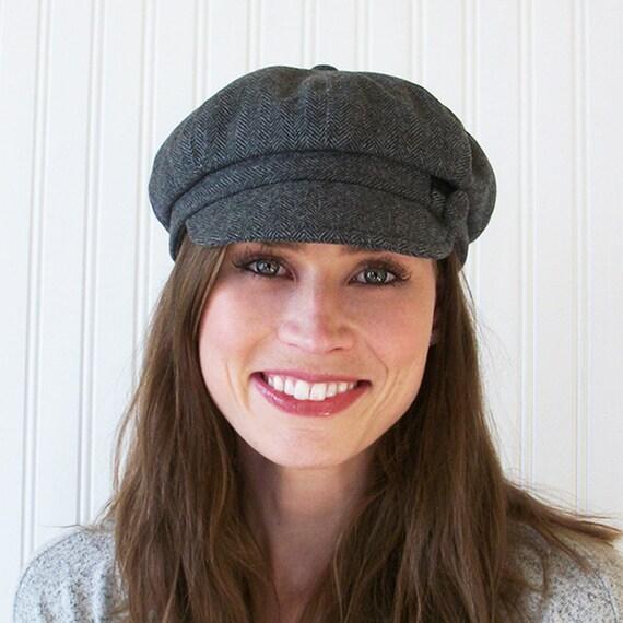 Gray Wool Herringbone Newsboy Cap Womens Newsboy Hat  1be9f77fb2a