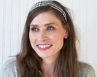 Fabric Headband, Womens Headband, Black and White, Glen Plaid Headband, Adult Headband, Womens Hair Accessories