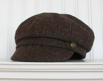 Brown Plaid Wool Tweed Newsboy Hat, Womens Hat, Made To Order
