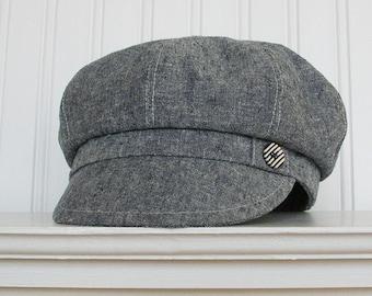 Indigo Linen Newsboy Hat, Womens Newsboy Cap, Womens Hat, Made To Order
