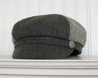 Gray and White Wool Newsboy Cap, Womens Hat, Womens Newsboy Hat, Winter Hat, MADE TO Order