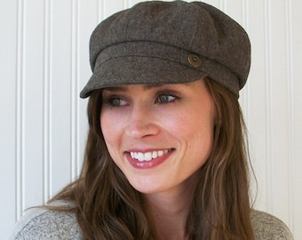 Brown Linen Newsboy Hat, Womens Newsboy Cap, Womens Hat, Made To Order
