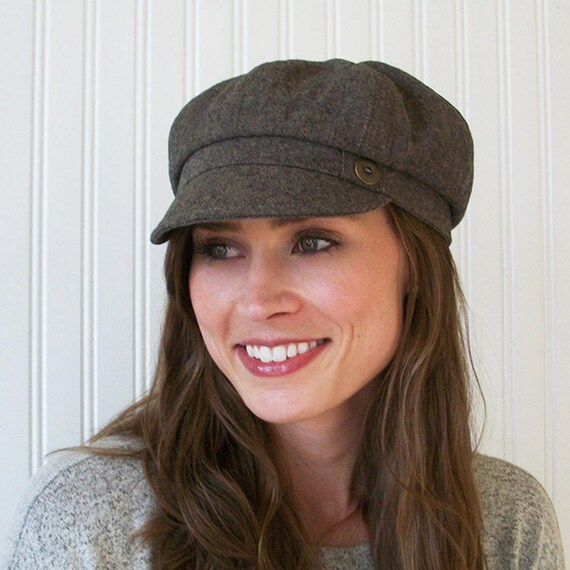 Brown Linen Newsboy Cap Womens Hat Newsboy Hat Made To Order  53467ae1b28