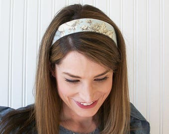 Blue and White Linen Headband, Womens, Fabric Headband, Adult Headband, Womens Hair Accessories