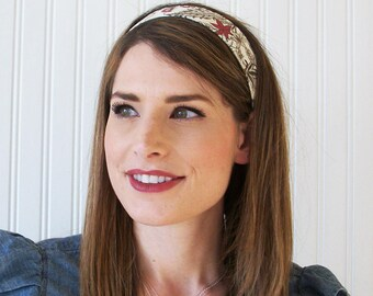 Womens Headband, Fabric Headband, White, Brown, and Red,  Floral Headband, Adult Headband, Cotton Headband
