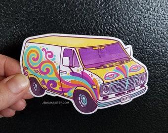 Swirly Van Glossy Die Cut Vinyl Sticker / psychedelic ice cream pastel stoner custom van / vanning vanlife