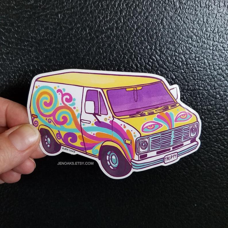 Swirly Van Glossy Die Cut Vinyl Sticker / psychedelic ice image 0