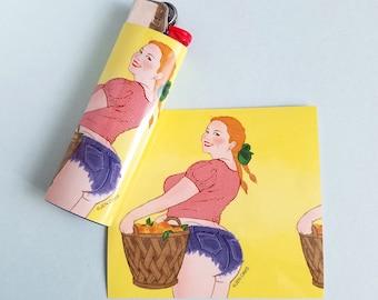 Lighter wrap sticker - Peaches Babe - vinyl sticker