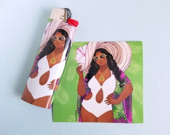 Lighter wrap sticker - Tropical Pool Pinup Babe - vinyl sticker