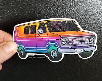 Space Stripes Van Glossy Die Cut Vinyl Sticker / rainbow pinstripe ombre custom van / vanning vanlife