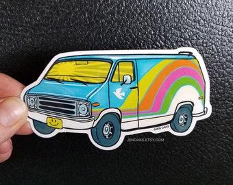 Blue Sky Van Glossy Die Cut Vinyl Sticker / rainbow acid bible school van bus sunshine peace dove happyface custom van / vanlife vanning