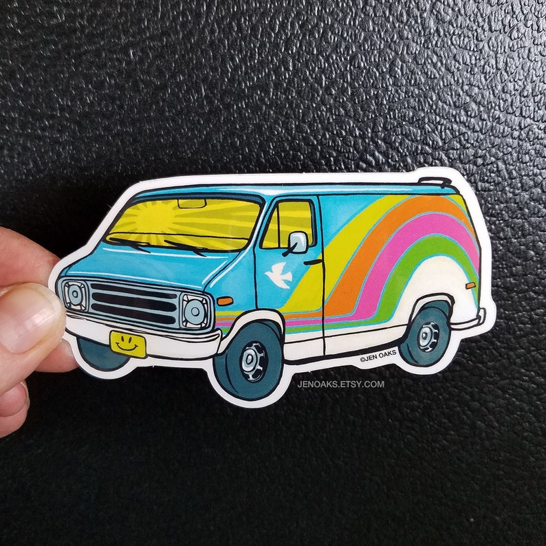 Blue Sky Van Glossy Die Cut Vinyl Sticker / rainbow acid bible image 0