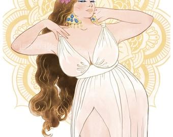 Curvy Pinup - 8x10 art print / fat, bbw, body positive, mystical goddess babe, flower crown mandala