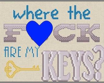 Where the F*CK are my Keys? Cross Stitch PDF Pattern