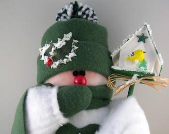 Stuffed Snowman, Plush Felt, Snowmen Christmas Decoration, Shelf Sitter or Table Top Holiday Decor, Dark Green Fleece
