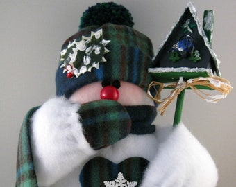 Stuffed Snowman, Plush Felt, Snowmen Christmas Decoration, Shelf Sitter or Table Top Holiday Decor, Blue and Green Plaid Fleece