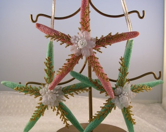 starfish ornament christmas decorations nautical christmas decor seashell christmas ornament set of 3 pink and green with gold accents