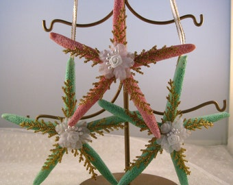 starfish ornament christmas decorations nautical christmas decor seashell christmas ornament set of 3 pink and green with gold accents - Nautical Christmas Decorations