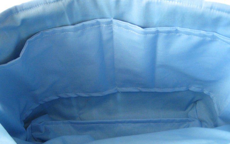 Shoulder Bag Project or Work Bag Summer Bag Quilted Tote Bag Nautical Print Seashell Design