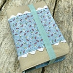 Linen and Lace NWT New World Translation Bible covers, standard sized, blue floral print with white rick rack accent