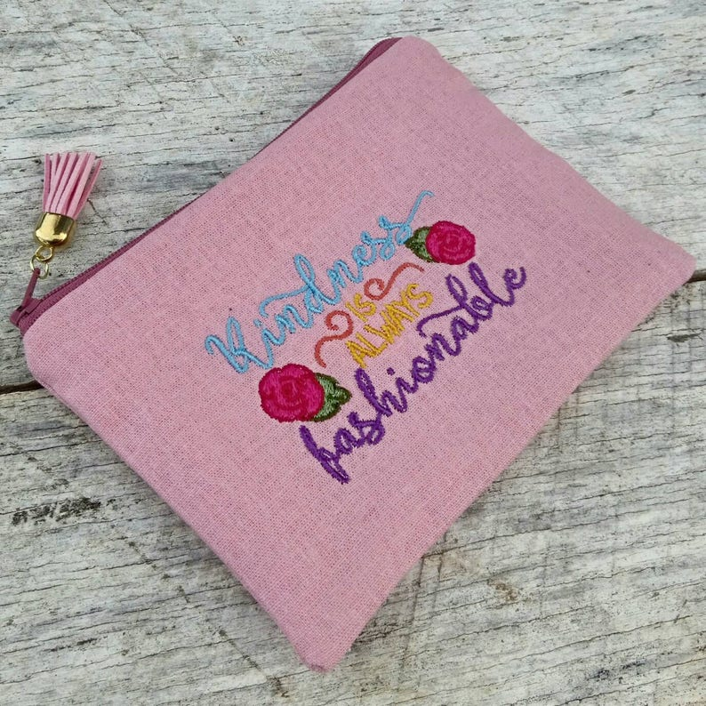 Pink linen kindness is always fashionable embroidered zipper image 0