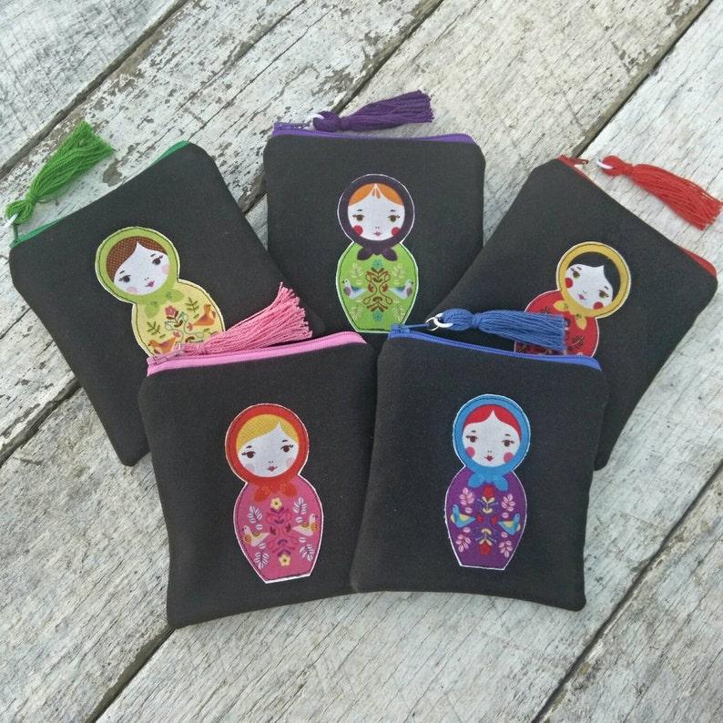 Matryoshka doll applique black linen square zipper pouch with image 0