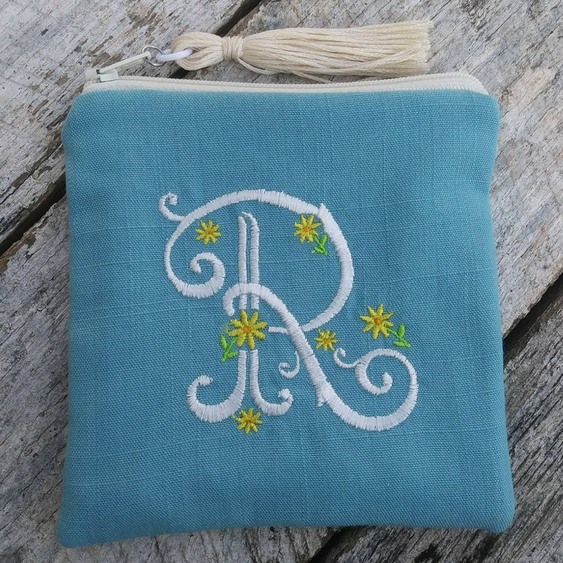 Spring linen monogrammed zipper pouch. Personalized square image 0