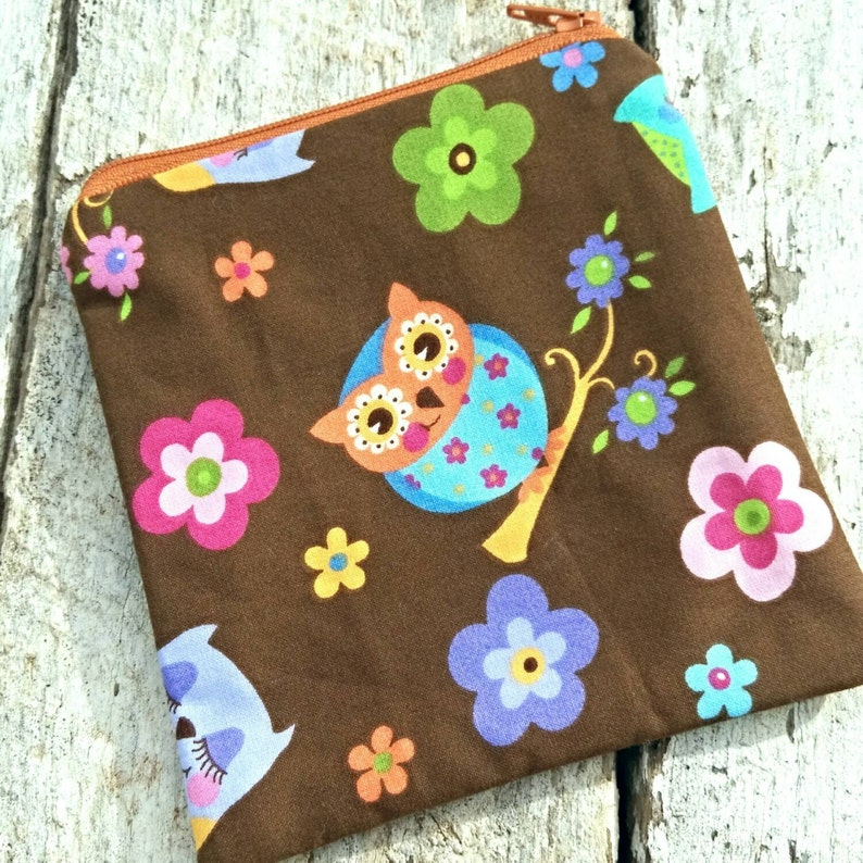 Brown owls and flowers square zipper pouch image 0