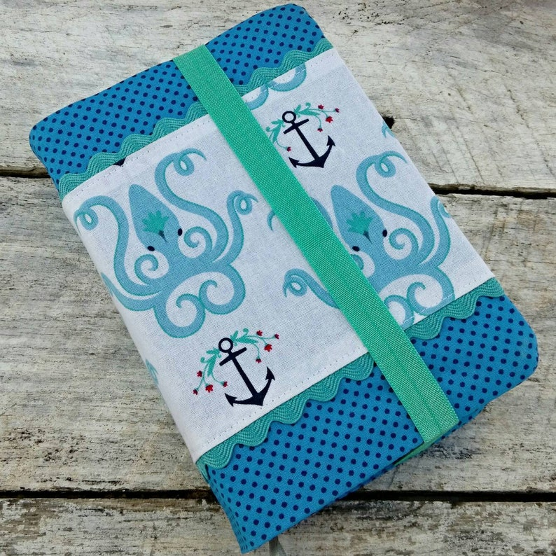 NWT Cute prints reversible fabric Bible cover octopi and image 0