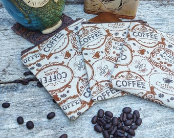 Coffee sack themed square zipper pouches. Bean juice. Latte lovers. Cute gift idea.