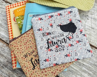 What would Laura do? Zipper pouch. Laura Ingalls Wilder bag. Little House on the Prairie fans. Gift idea. Calico purse.