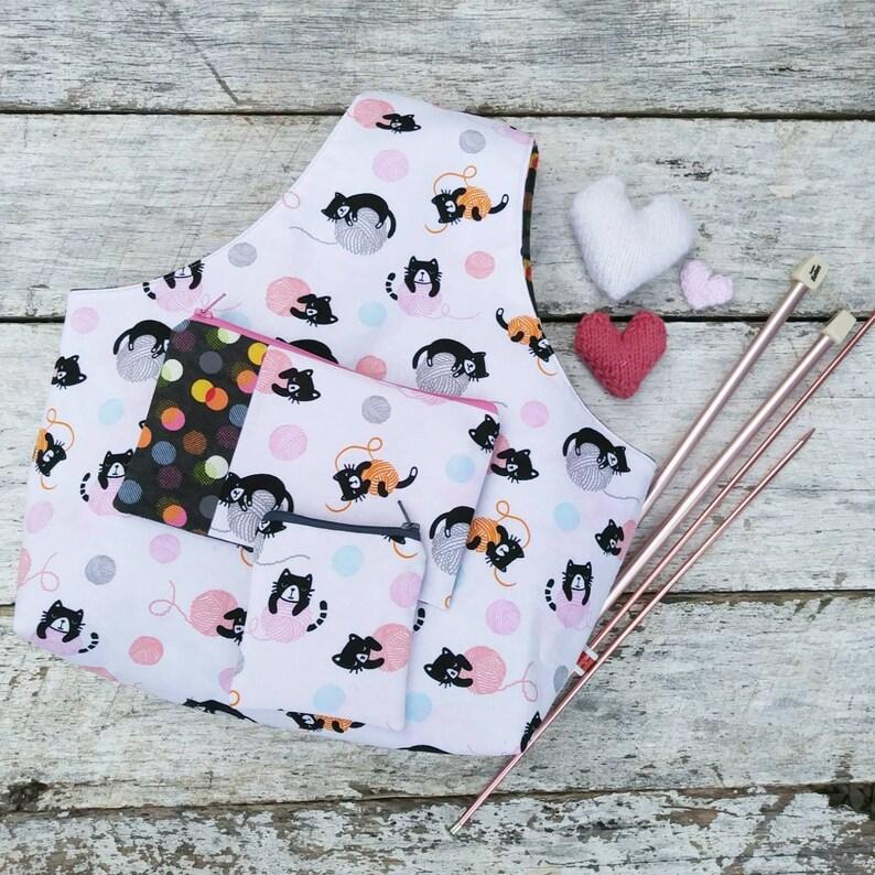 Knitting or Crochet Project Bag Set. Kittens kitties yarn image 0