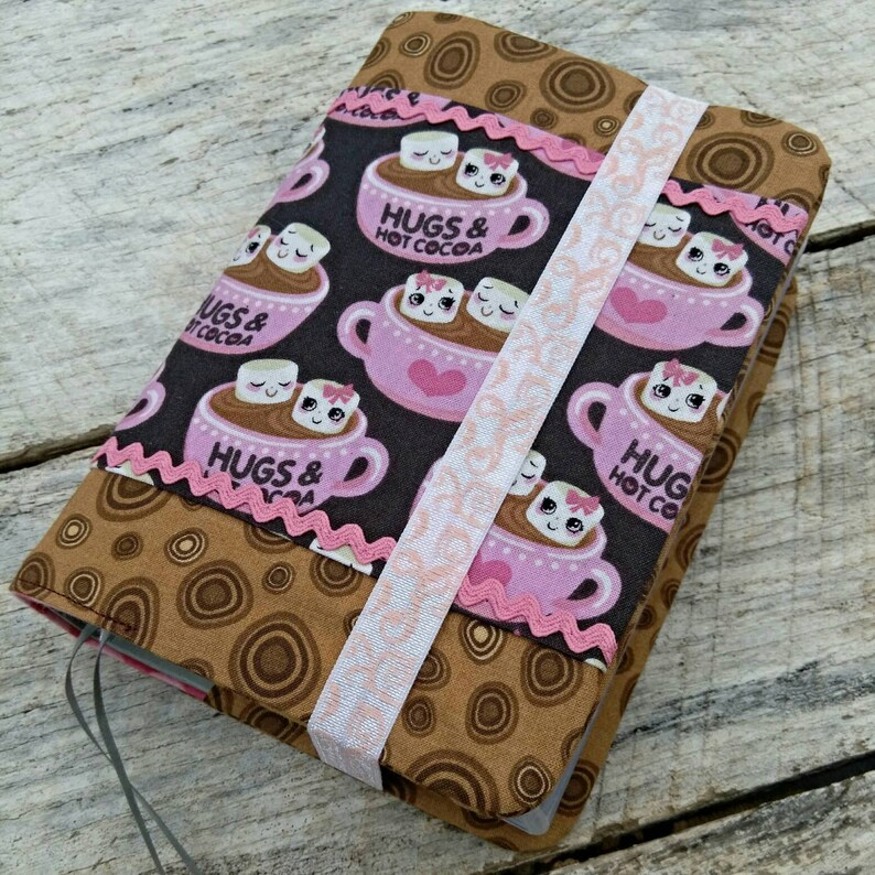 NWT Cute prints reversible fabric Bible cover Hot cocoa and image 0