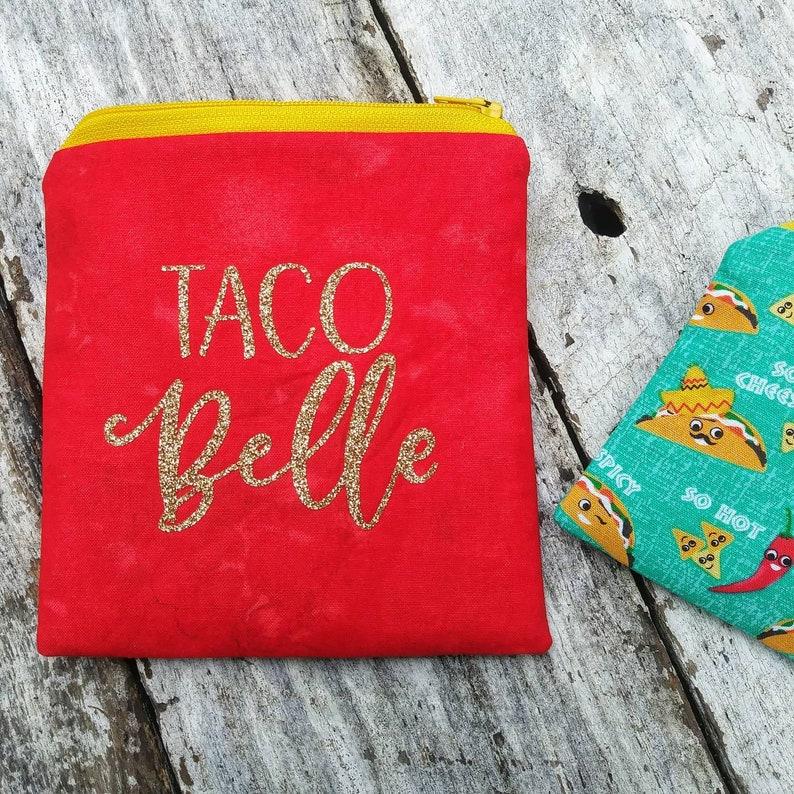 Taco Belle bag set. Spicy taco Tuesday mini coin purse. Zipper image 0