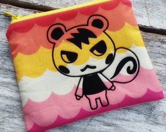 Animal Crossing pouch featuring Marshal amiibo. Small zipper bag. Cute gift idea. Coin purse. Scannable switch amiibo cards. Nfc tags