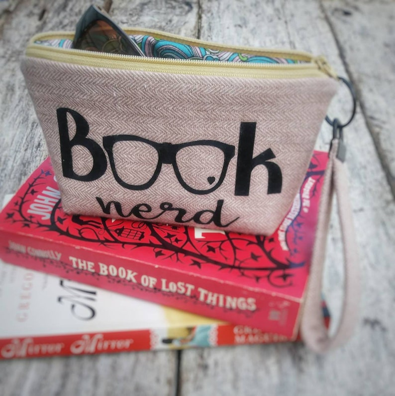 Book nerd zipper pouch with wristlet strap. Bibliophiles gift. image 0