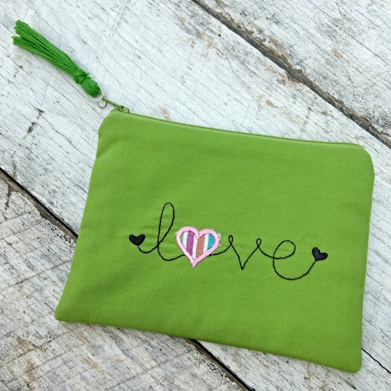 Green Love heart applique embroidered zipper pouch with tassel