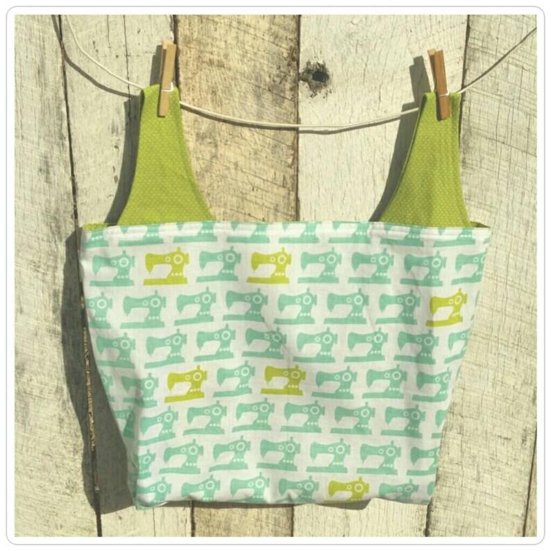 Sewing Machines Reusable Fabric Shopping Bag reversible image 0