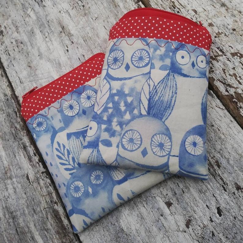 Patchwork owls zipper pouch.  Small change purse. Blue owls image 0