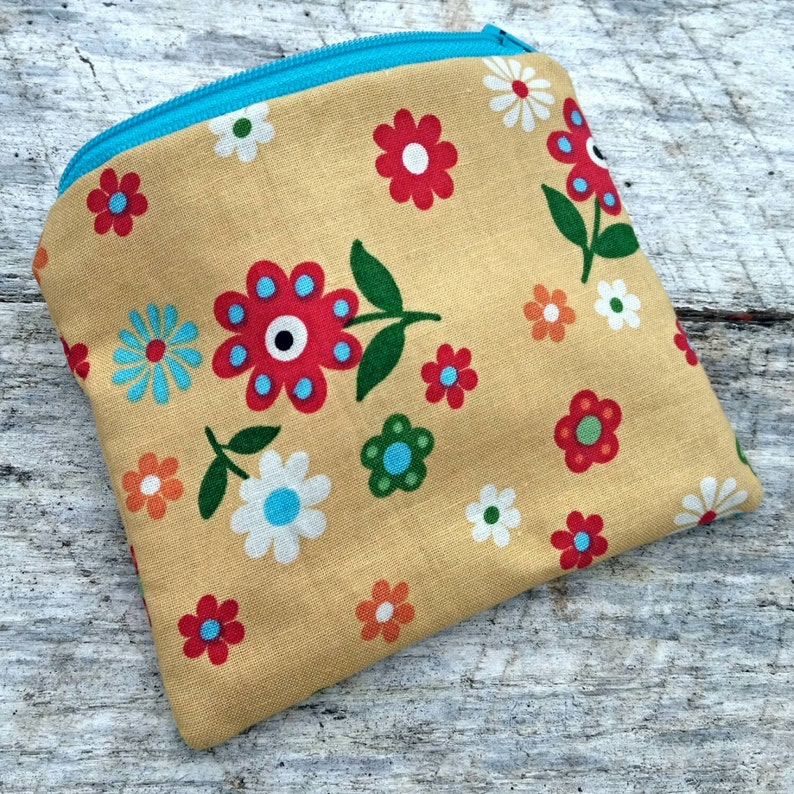 Yellow floral small zipper pouch. Coin purse. image 0
